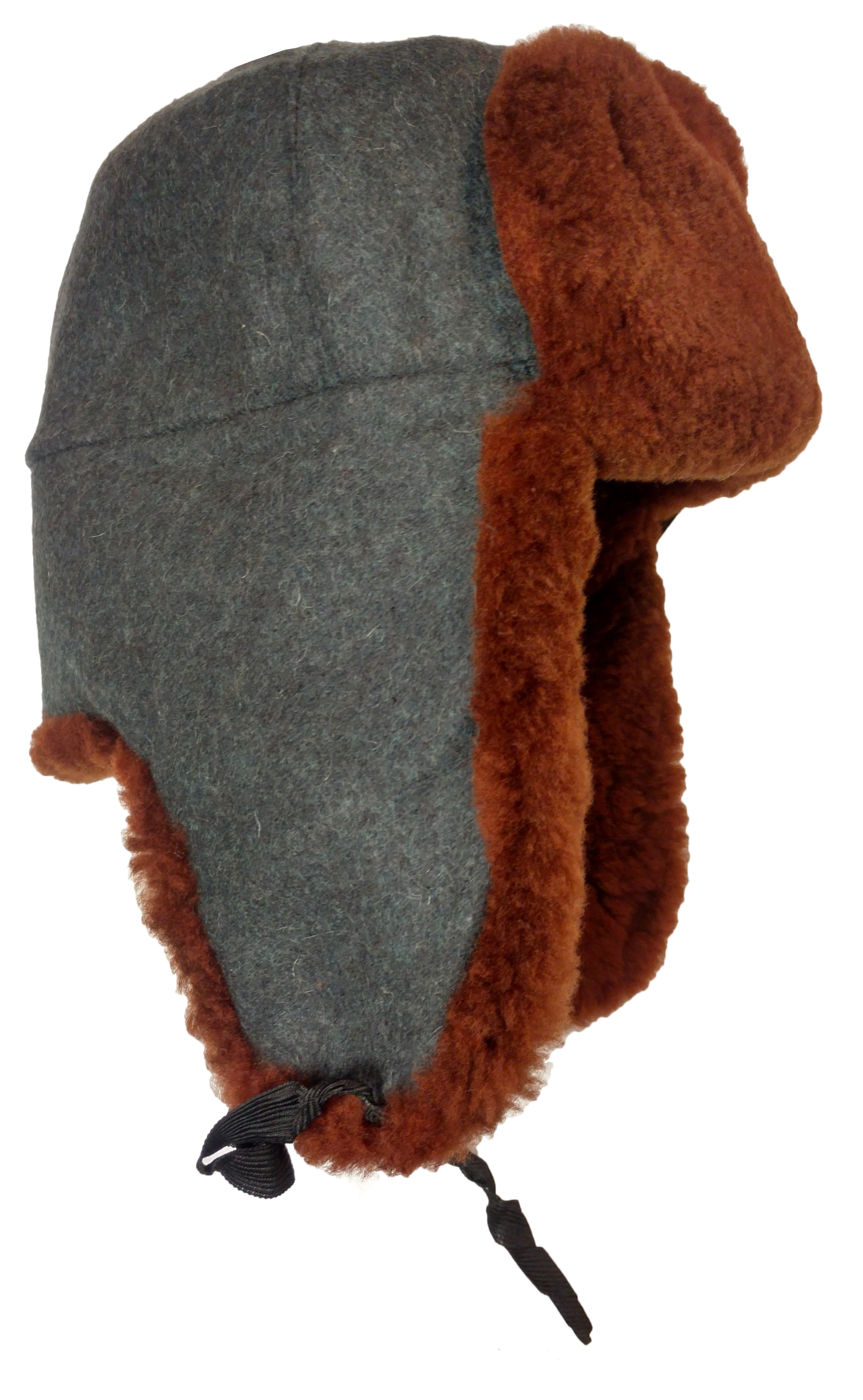 248b6d91258 Brown lambskin fur ushanka with woolen fabric top.