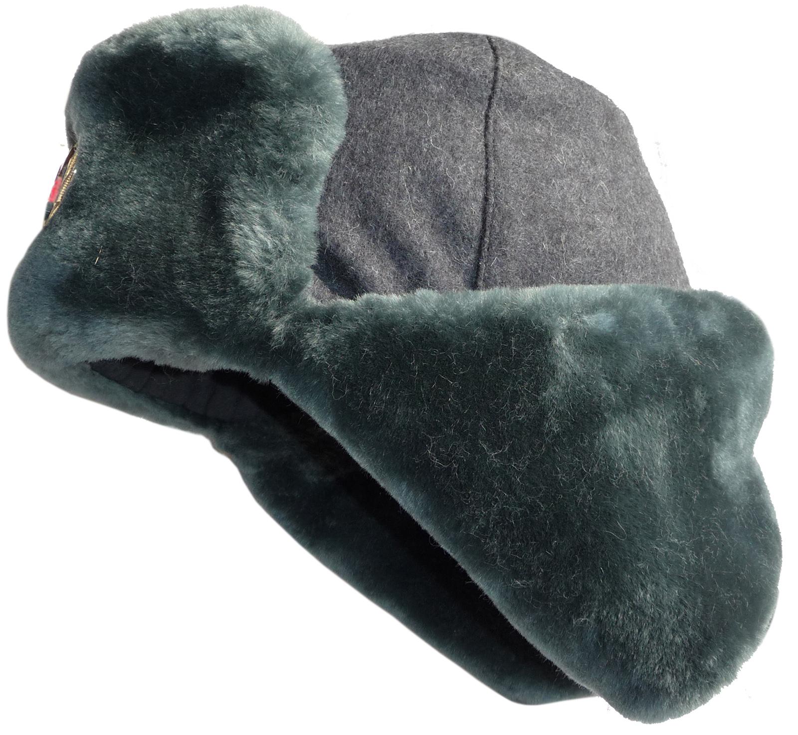 cdbf2284f Sheepskin-like faux fur ushanka hat. Wool top.