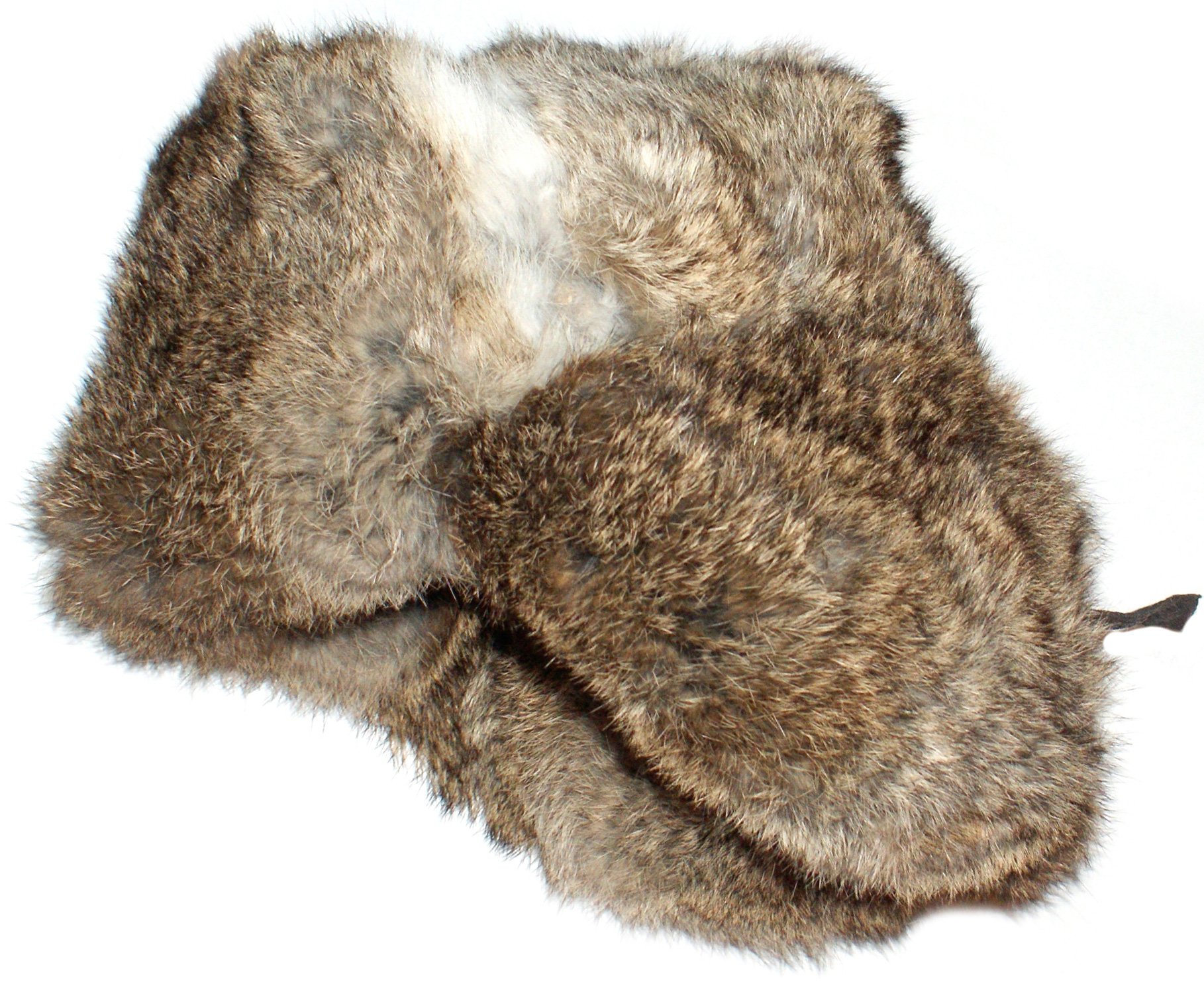 Genuine rabbit fur brown ushanka winter hat 01700554949
