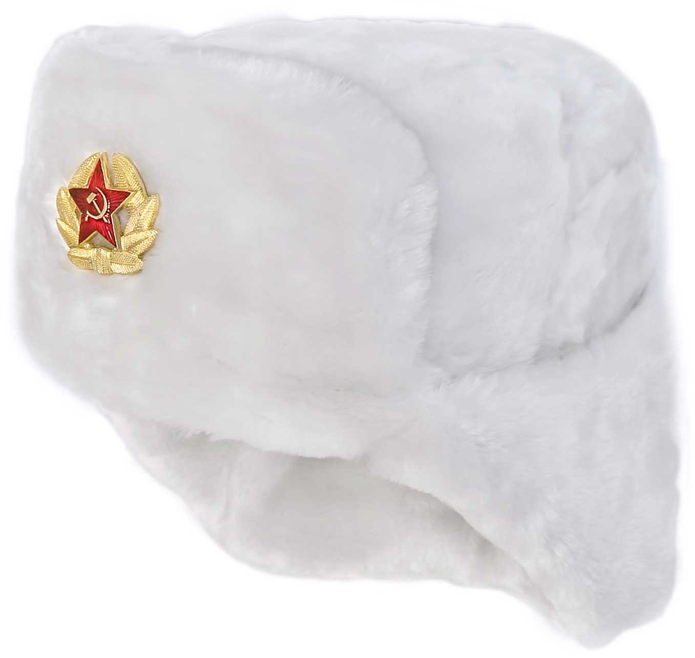 russian ushanka winter hat white faux fur trapper bomber