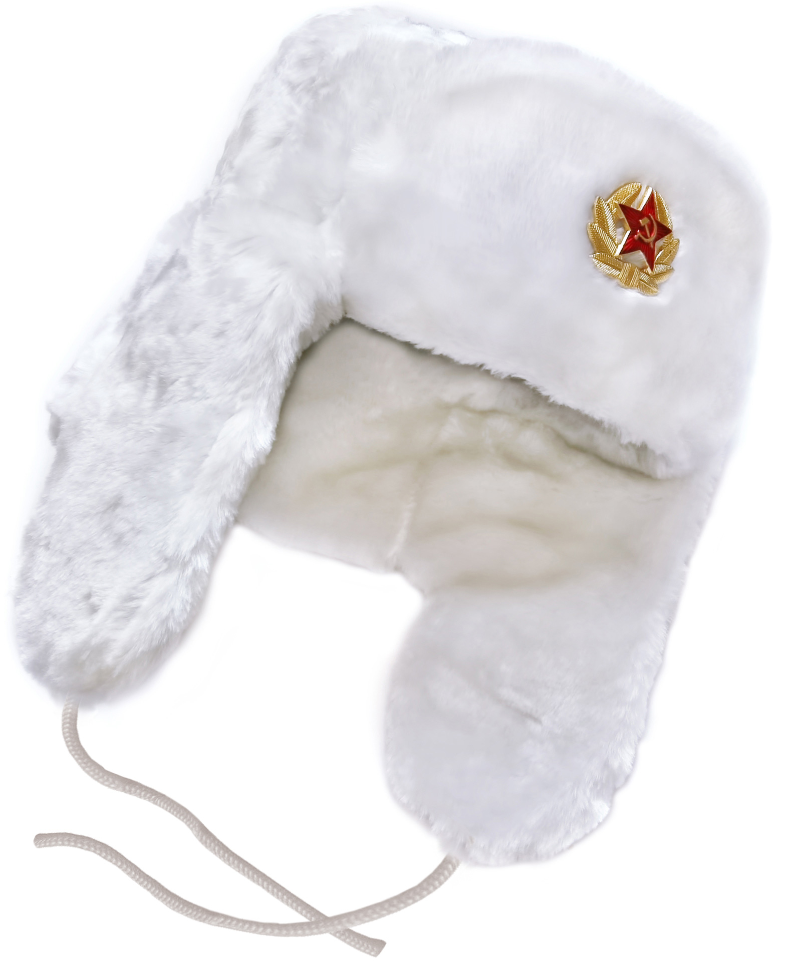 White faux fur ushanka winter hat 24695cf6c542