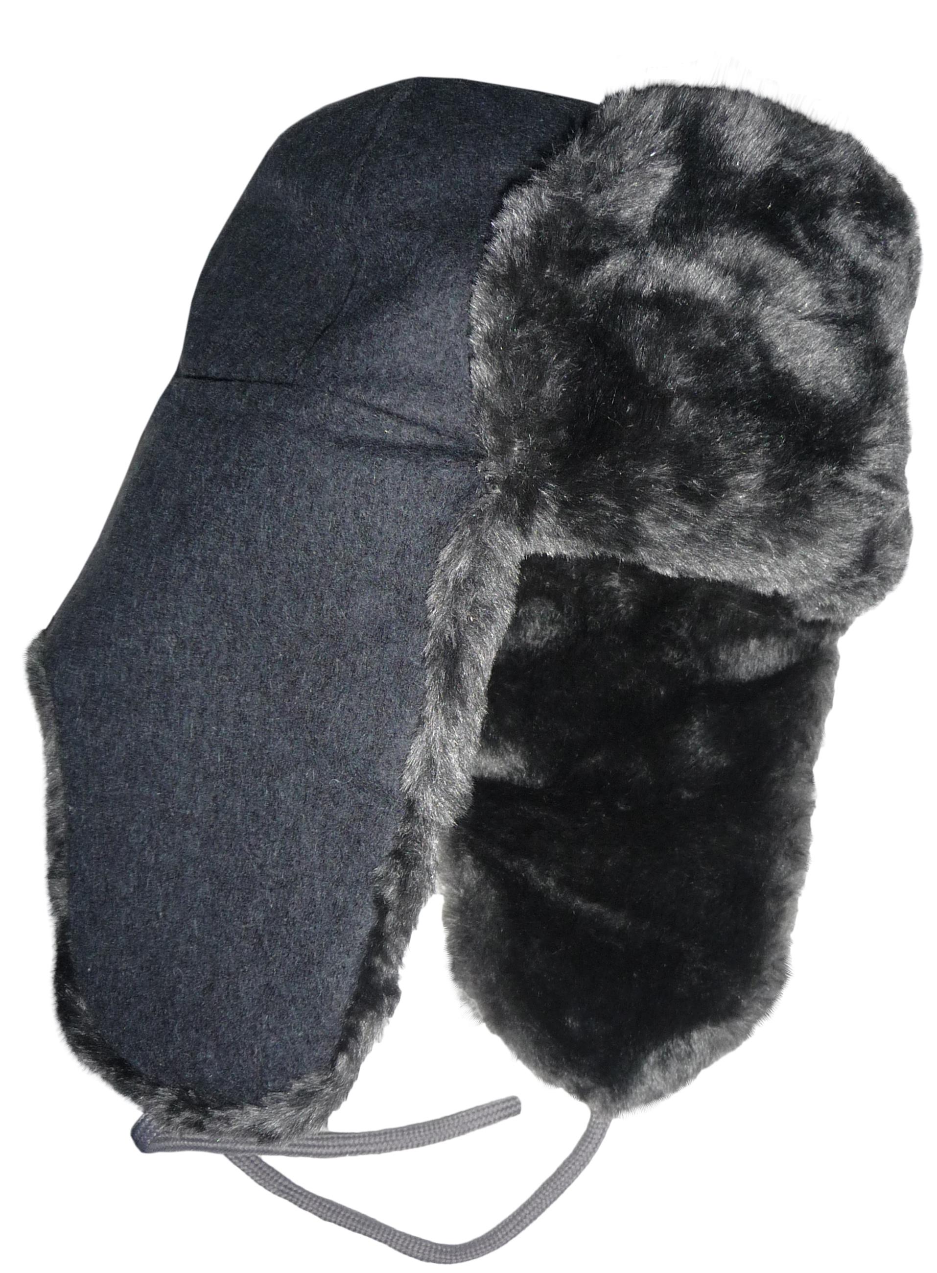 Gray fur ushanka with woolen top. add28fd1dcb