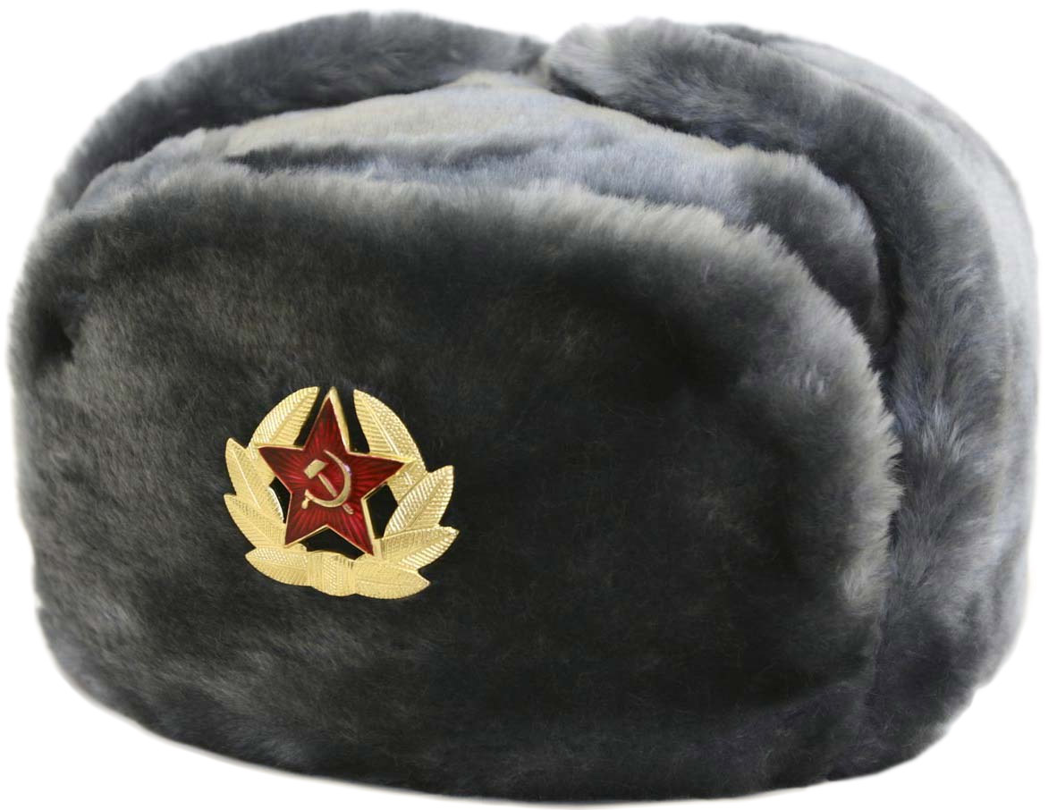 gray ushanka winter hat
