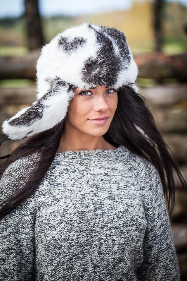 40120023bf1 Rabbit fur ushanka winter hat. White and black.