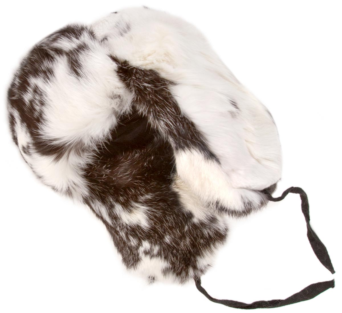 rabbit fur ushanka winter hat white and black
