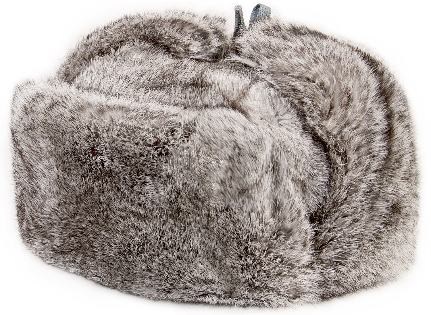 f3a5c553c Gray rabbit fur ushanka winter hat.