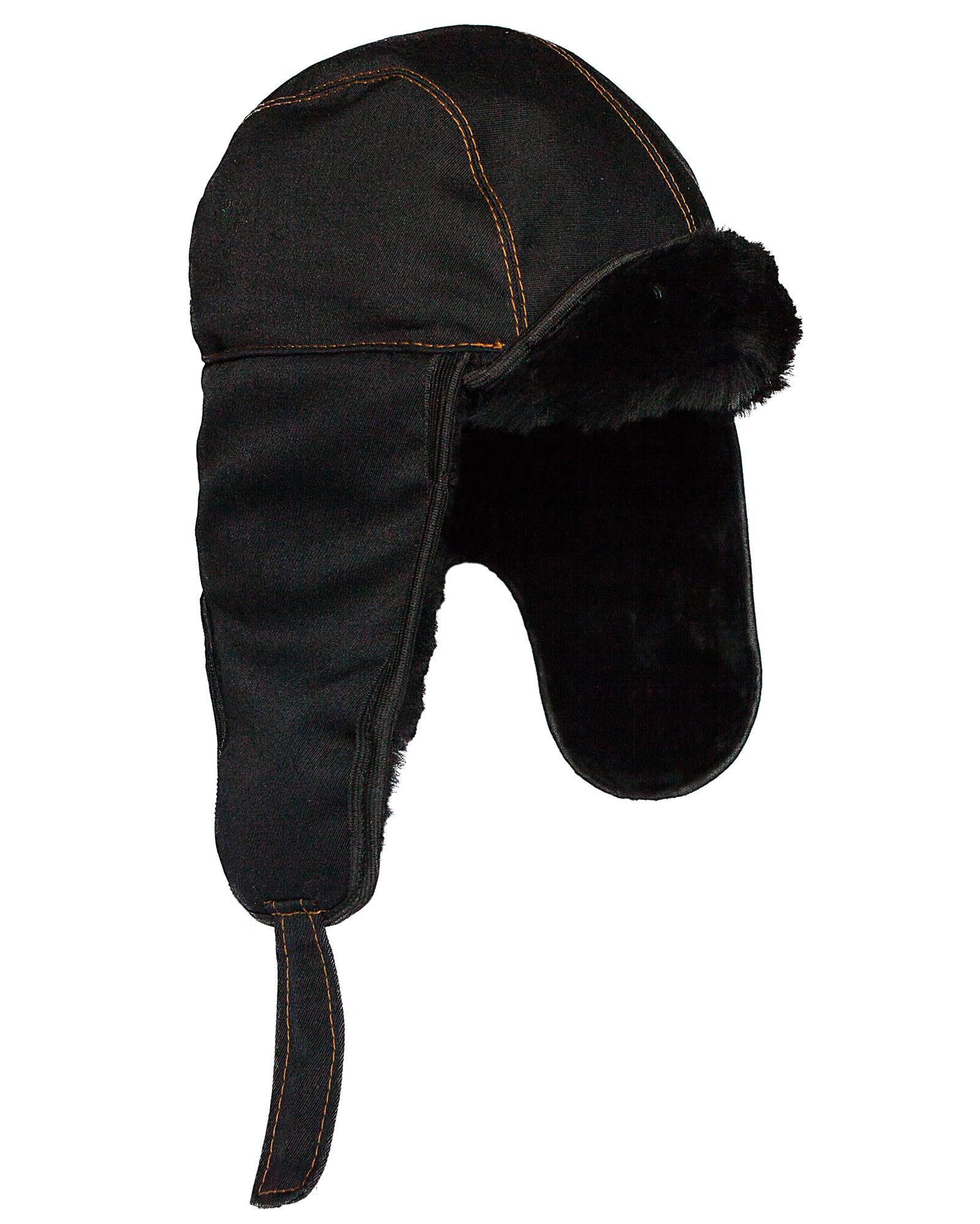 eb5d891d829793 Russian Aviator Bomber Hat. Black Sheepskin Fur.