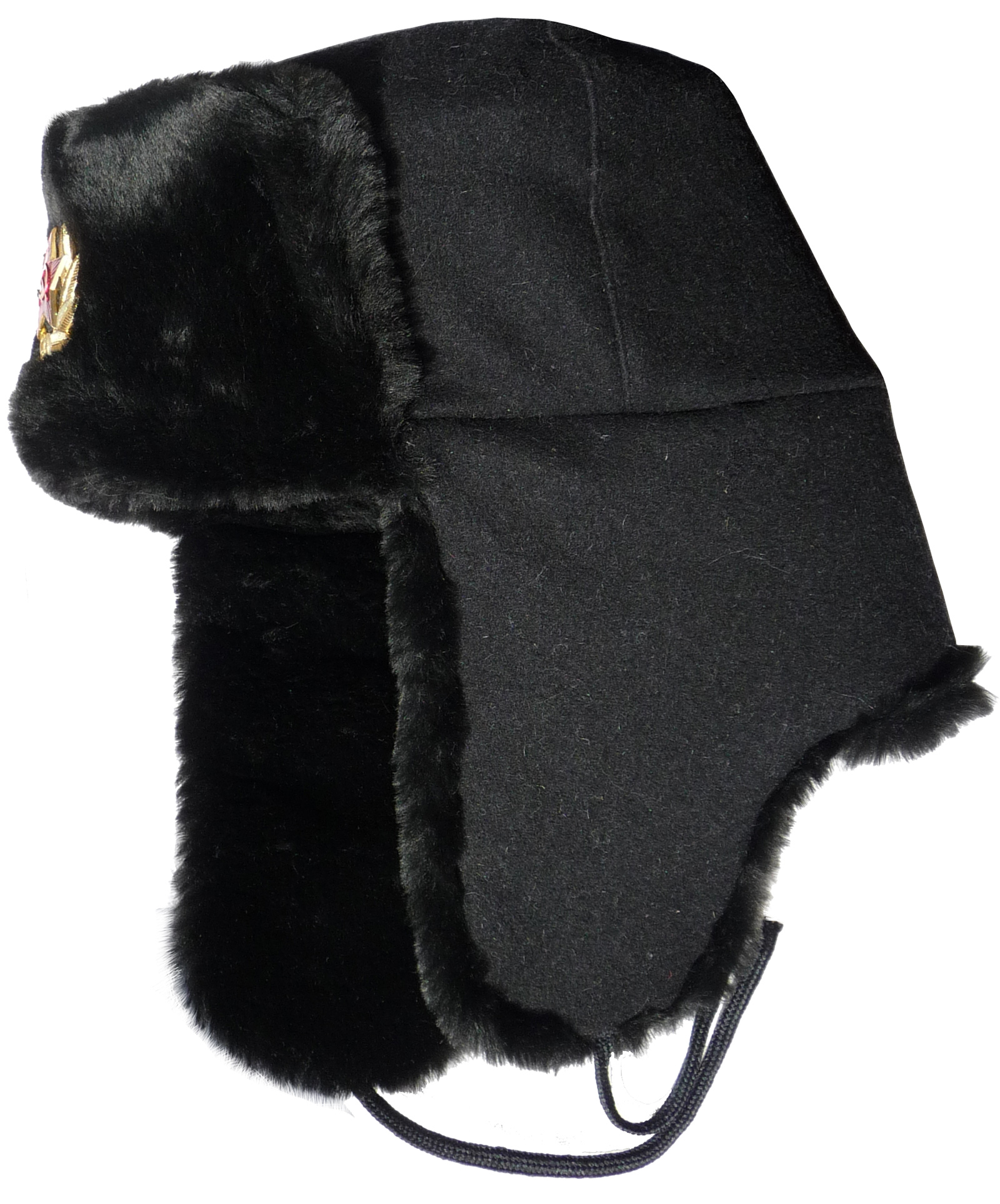 Russian Navy seaman ushanka winter hat. Black wool top ...
