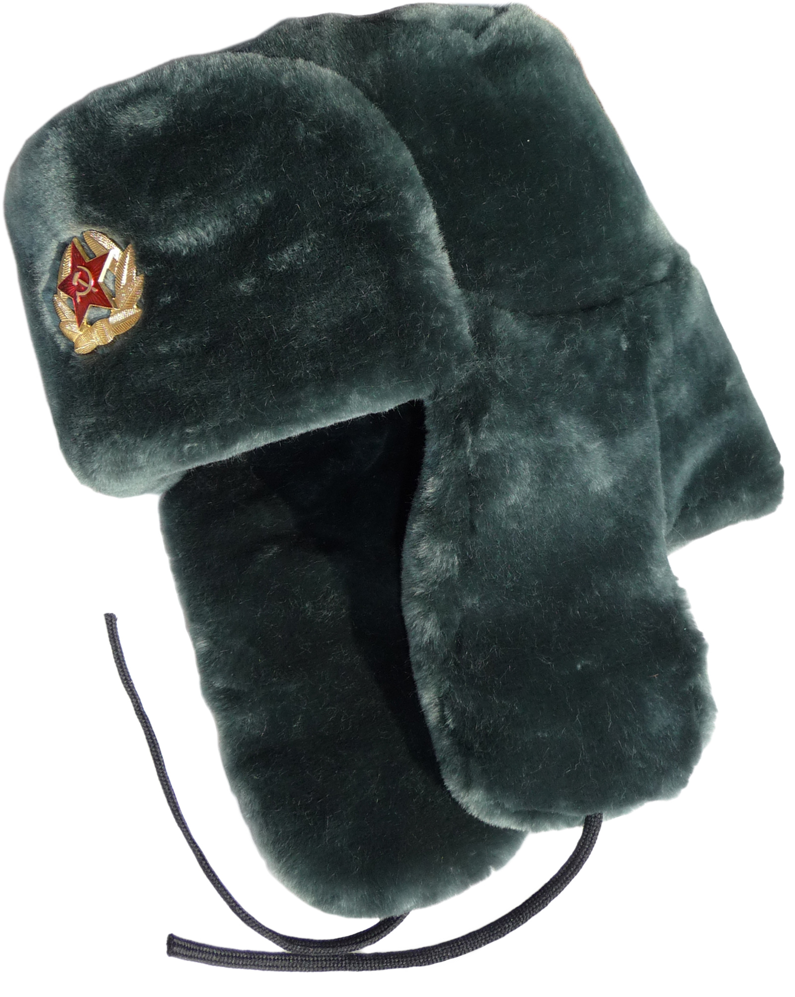 1bcf50522a7 Sheepskin-like faux fur ushanka hat.