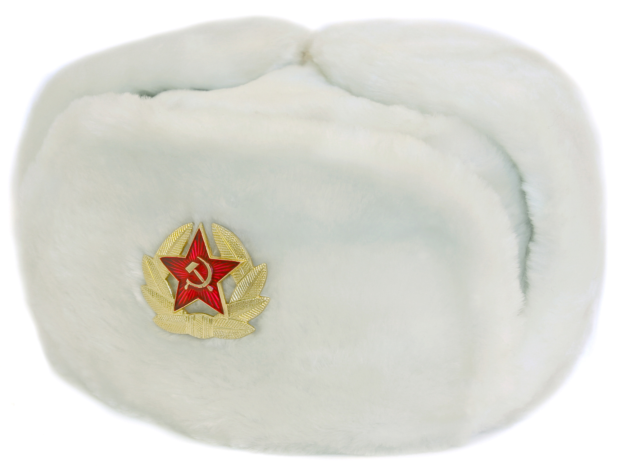 white faux fur ushanka winter hat