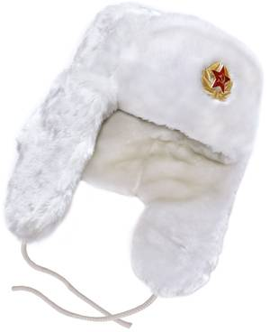 White ushanka winter hat.