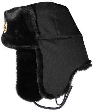 Russian Navy seaman winter hat. Black.
